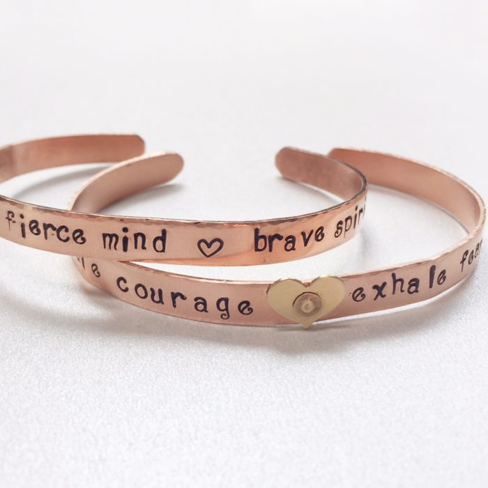 Copper bracelet cuff with personalized message