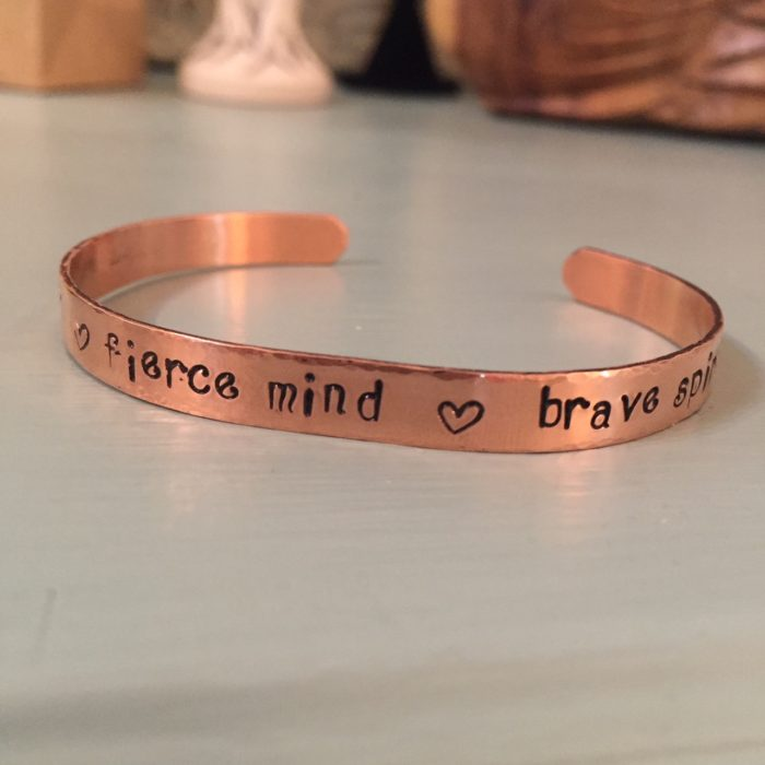Copper bracelet cuff with personalized hand stamped message