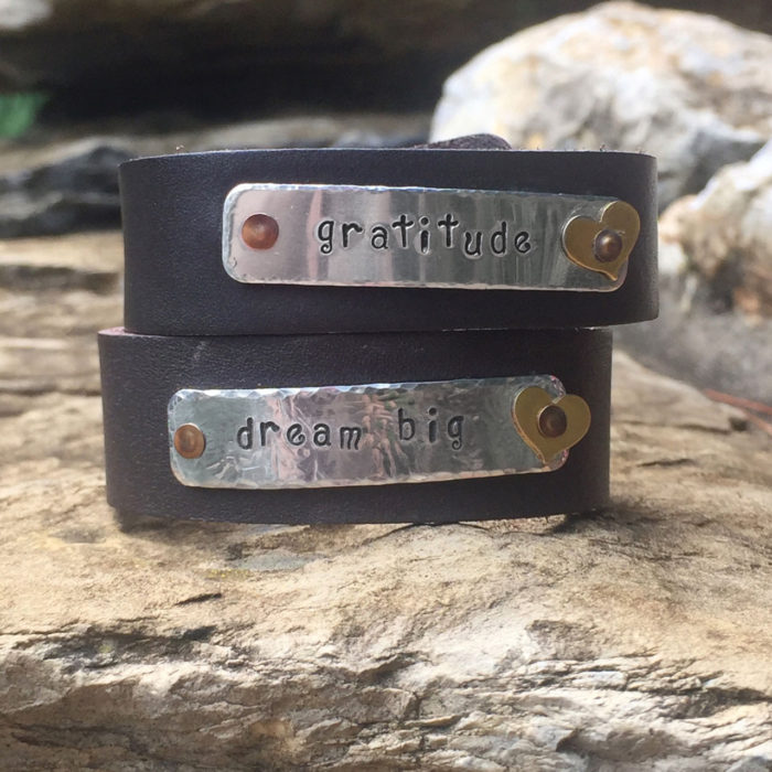 personalized hand stamped leather cuff bracelet