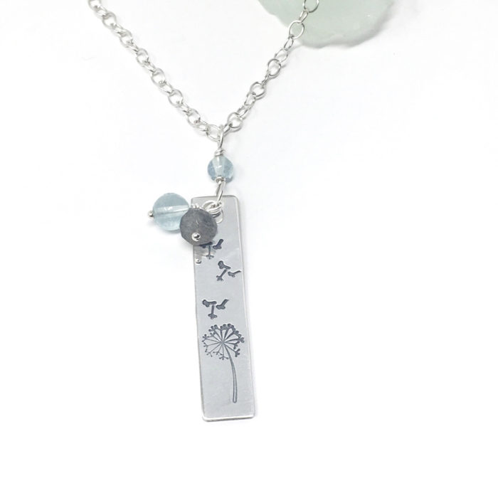 Sterling silver necklace with dandelion make a wish design stamp