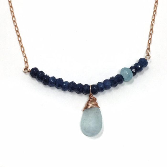 Sapphire and aqua marine and rose gold - beautiful combination.