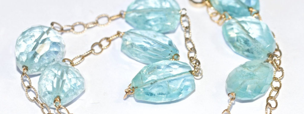 Aquamarines on gold chain