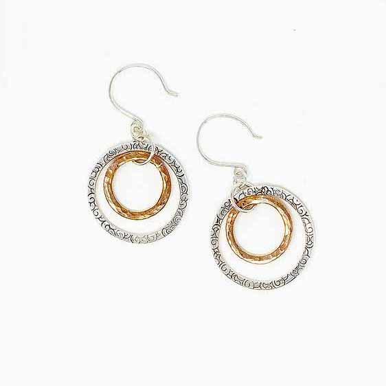 Hoop earrings in silver and copper