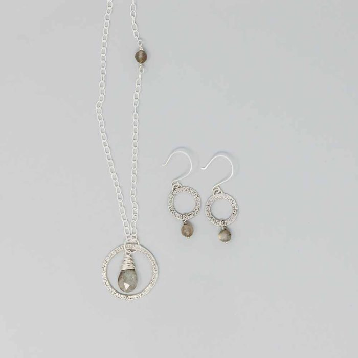 Sterling silver circle earrings with labradorite drops