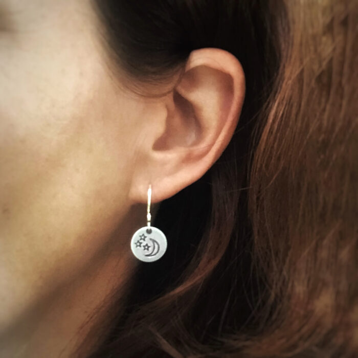 Moon and star earrings in sterling silver