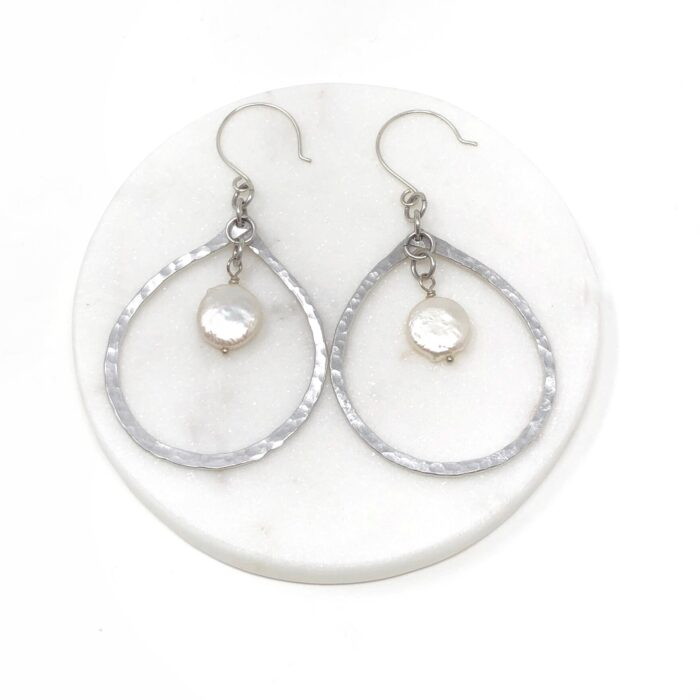 Teardrop hoops with fresh water pearl and ear wire in sterling silver