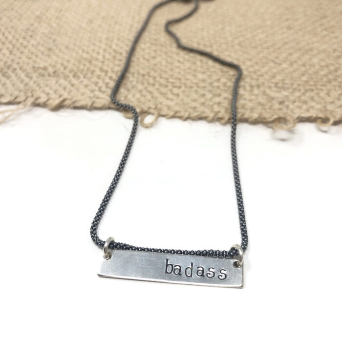 Sterling silver bar necklace with popcorn silver chain. Word can be personalized.